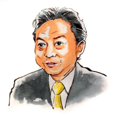 鳩山由紀夫 政治家 総理大臣 水彩画 似顔絵 挿絵 新聞