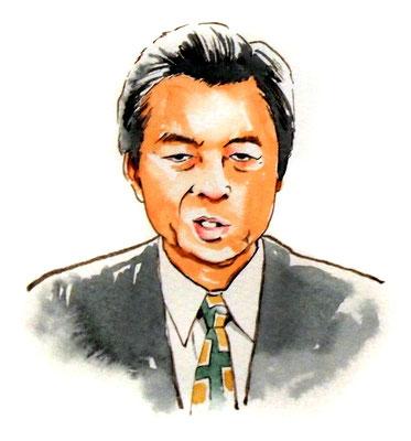細川護煕 政治家 総理大臣 水彩画 似顔絵 挿絵 新聞