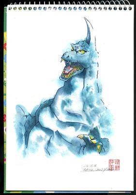 怪獣 水彩画 和紙 酔画 挿絵 手描き にじみ たらしこみ 半紙 絵の具