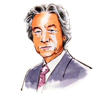 小泉純一 政治家 総理大臣 水彩画 似顔絵 挿絵 新聞