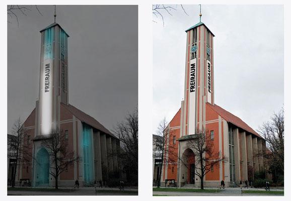 "Beflaggung und Beleuchtung des Kirchturms für ""FreiRaum""-Aktion"
