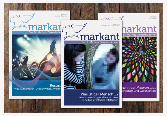 """Titelseiten für den Gemeindebrief """"Markant"""""""