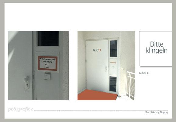 Beschilderung Eingangstüre - voher/ nachher