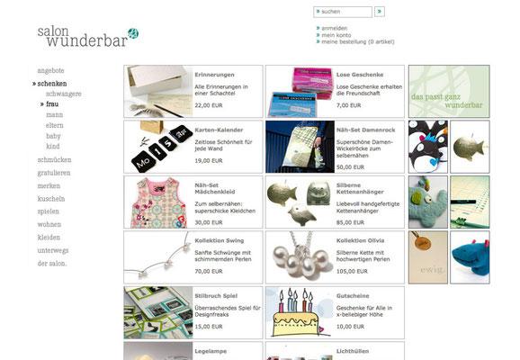 Webseite (Produktübersicht)