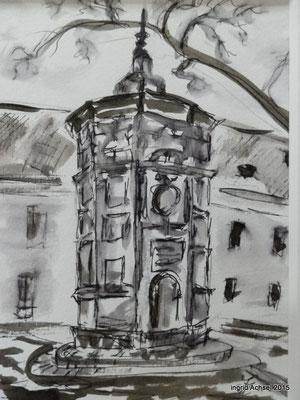Taubenhaus [Fineliner und Sepia] © Ingrid Achsel