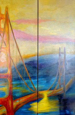 Golden Gate | San Fransico [Acryl auf Leinwand, 2x 30x90cm] © Ingrid Achsel