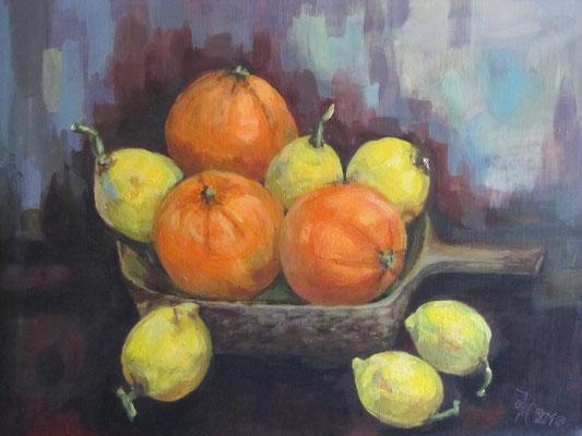 Zitronen & Orangen [Acryllasur auf Leinwand, 50x40 cm] © Ingrid Achsel