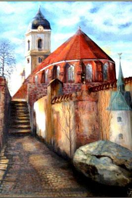 Sankt Marien Dom [Fürstenwalde, Acryllasur auf Leinwand, 58x75cm] © Ingrid Achsel