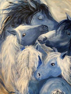 blue motion [Acryl auf Leinwand, 70x90cm i. Schattenfuge] © Ingrid Achsel