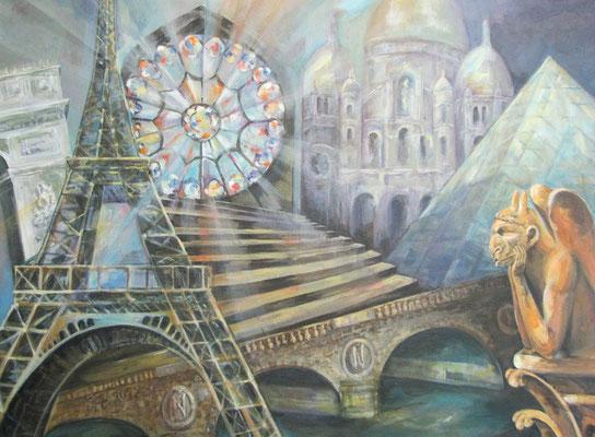 12 Stunden Paris [Acryllasur auf Leinwand, 70x50cm] © Ingrid Achsel