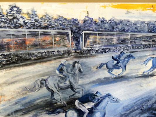 Galopprennen [Acryllasur auf Leinwand, 70x50cm i. Schattenfuge] © Ingrid Achsel