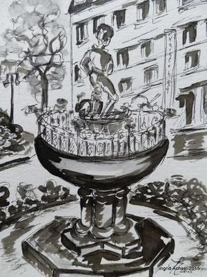 Grasnickbrunnen [Fineliner und Sepia] © Ingrid Achsel