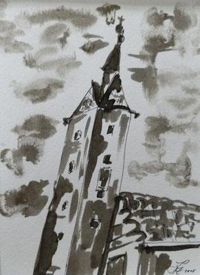 Rathausturm [Fineliner und Sepia] © Ingrid Achsel