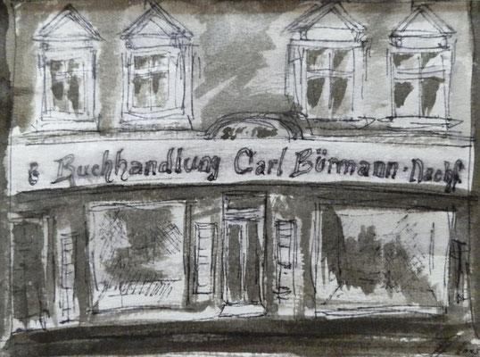 Buchhandlung Karl Buermann [Fineliner und Sepia] © Ingrid Achsel