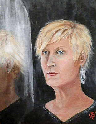 Frau im Spiegel [Selbstbildnis, Acryllasur, Privatbesitz] © Ingrid Achsel
