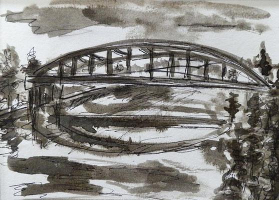 Seebrücke [Fineliner und Sepia] © Ingrid Achsel