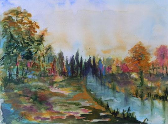Herbst am Mühlenfließ [Aquarell, 40x30cm] © Ingrid Achsel