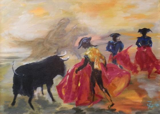 Corrida [Acryl auf Leinwand, 70x50cm] © Ingrid Achsel