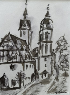 Rathaus und Dom [Fineliner und Sepia] © Ingrid Achsel
