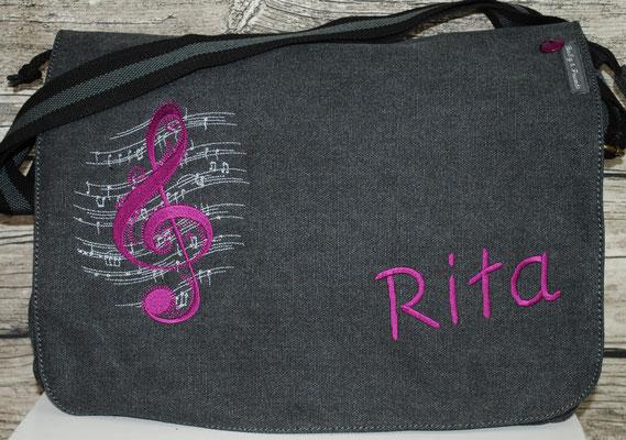 vintage schwarze Tasche,  Stickerei violett Nr. 1310