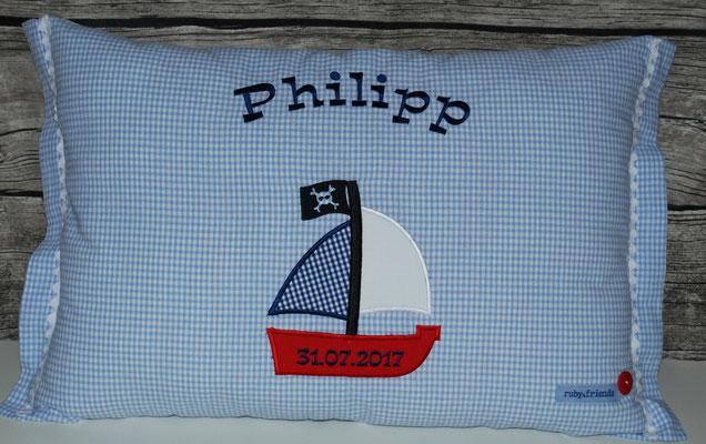 Segelboot Vichykaro hellblau,  Stickdatei Ginihouse  3