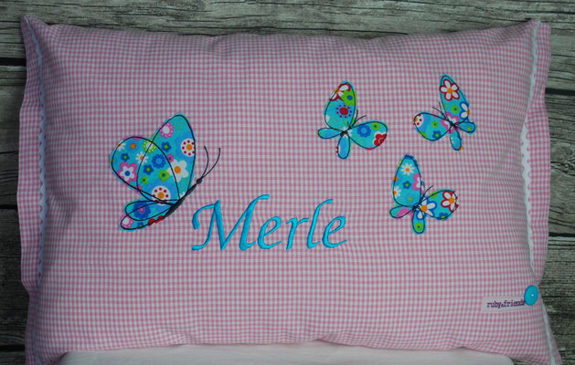 Schm12   Schmetterlinge  Vichy rosa  Stickdatei   Kunterbuntdesign