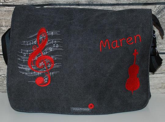 Notentasche vintage schwarz Cello Stickerei rot