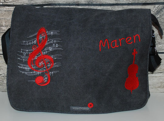vintage schwarze Tasche mit Cello Stickerei rot Nr. 1147