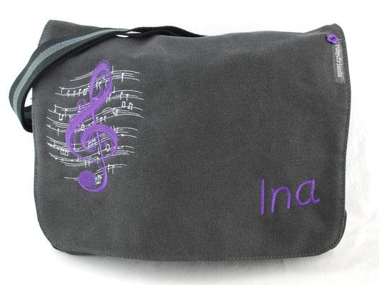 vintage schwarze Tasche, Stickerei lila  Nr. 1112
