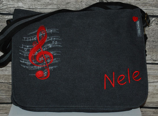 vintage schwarze Tasche,  Stickerei rot Nr. 1147