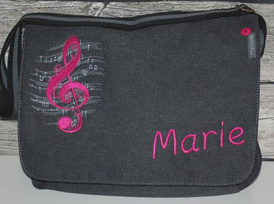 vintage schwarze Tasche, Stickerei pink Nr. 1110