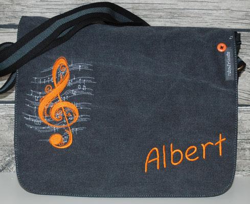 vintage schwarze Tasche, Stickerei orange Nr. 1278