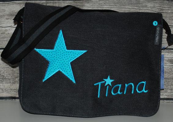 vintage schwarze Tasche mit Stern türkis Nr. 1094