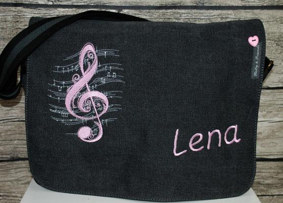 vintage schwarze Tasche, Stickerei rosa Nr. 1031