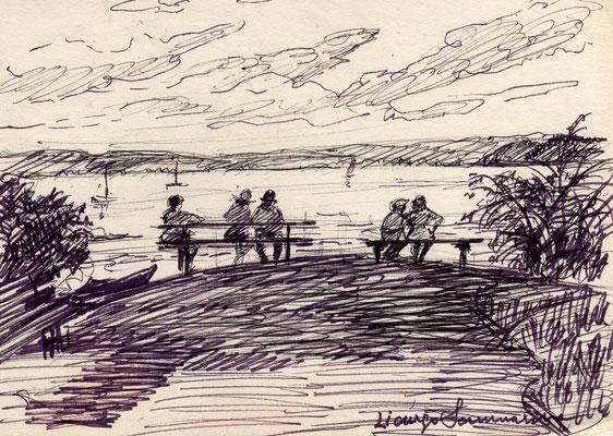 Lago di Costanza - anni '60 - pennarello su carta - 7x12