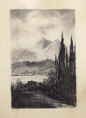 vista da Oggebbio - 1944 - carboncino su carta - 25x30