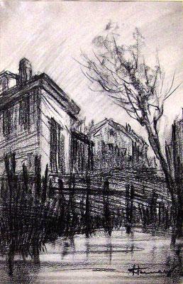 Dintorni di Lecco - 1938 - carboncino su carta - 25x30