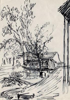 Dintorni di Verona - anni'50 - penna biro su carta - 5x10