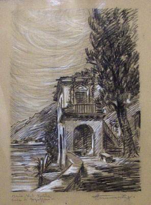 Oria,Val Solda casa di Fogazzaro - 1936 - grafite e pastello su carta - 25x30- proprietà FAI