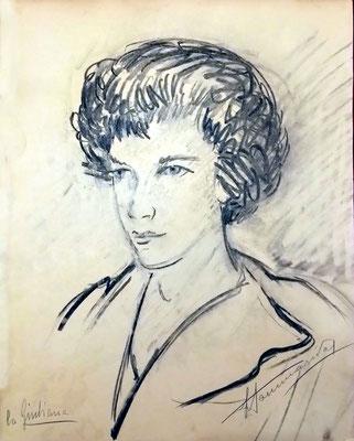 Ritratto di Giuliana - 1964 - carboncino su carta da pacco