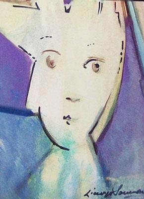 Ritratto di Giuliana- 1958 - olio su carta