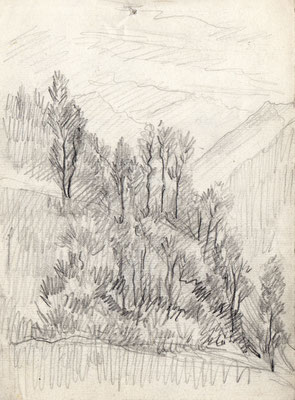 dintorni di Verona - anni '50 -matita su carta - 5x10
