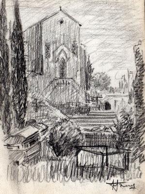 Schizzi su quaderno - Dintorni di Verona - anni '50 - grafite su carta - 5x10