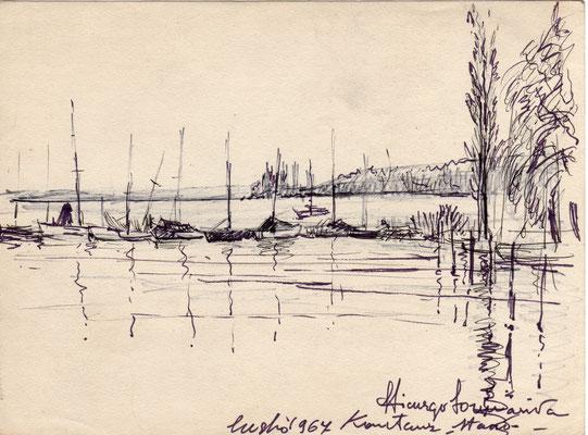 Lago di Costanza - anni'60 - pennarello su carta - 7x12