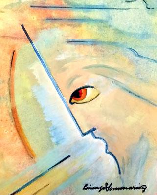 Il verbo di Gesù - disegno a colori- olio su carta - 30X30