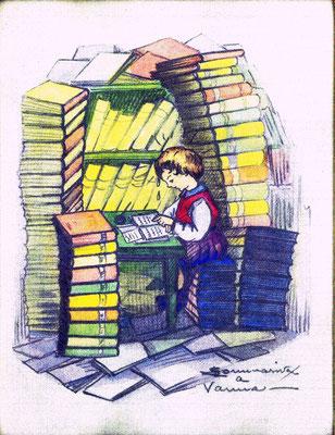 Caricatura di Vanna studiosa - 1946 - proprietà C. Ferrario