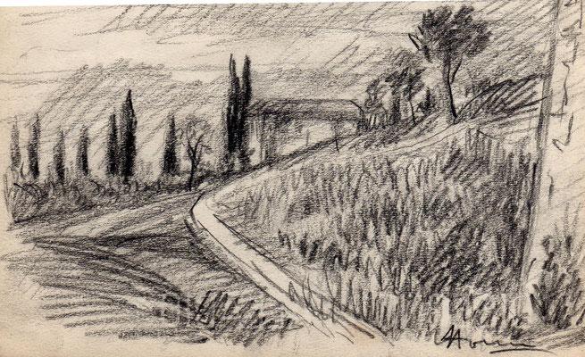Dintorni di Verona - anni '50 - Grafite su carta - 5x10