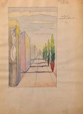 pannello per paretestand Polenghi Lombardo - bozzetto - 1938
