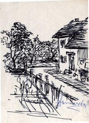 Costanza - casa di Guido a Costanza - anni '60 - pennarello su carta - 7x12