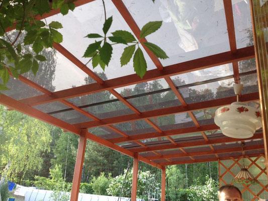 Навес над летней кухней из монолитного поликарбоната